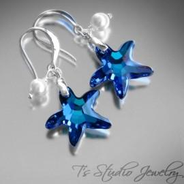 Beach Blue Starfish Bridesmaid Earrings