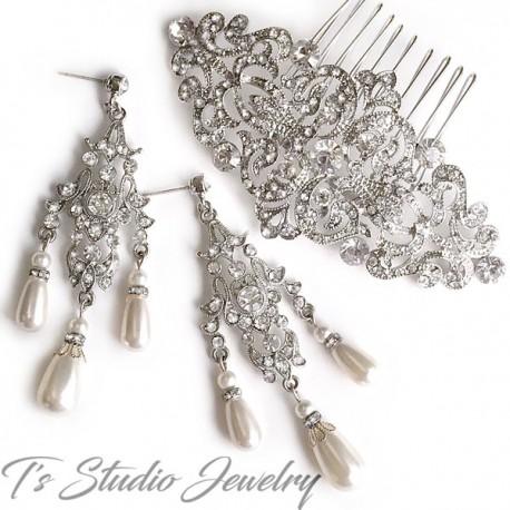 Vintage Crystal and Pearl Bridal Earrings & Hair Comb