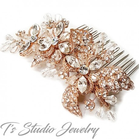 Rose Gold Clear Rhinestone & Crystal Flower Hair Comb