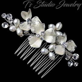 Freshwater Pearl & Crystal Bridal Hair Comb Silver or Gold