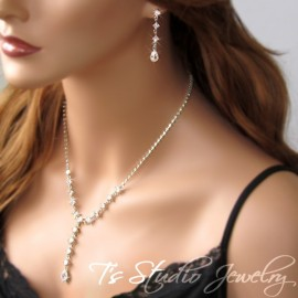 Square Crystal Rhinestone Bridal Jewelry Set