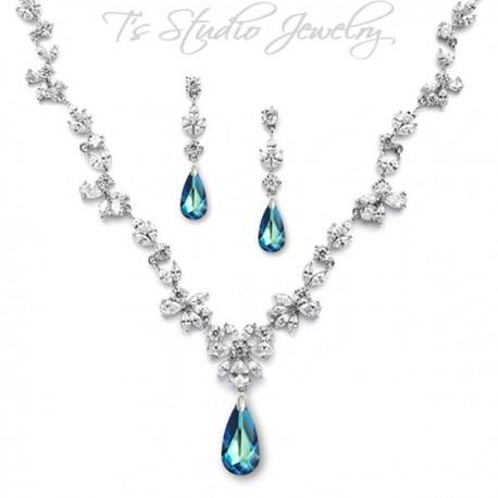 CZ Something Blue Crystal Necklace Earring Set