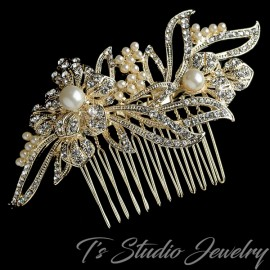 Rhinestone and Pearl Bridal Hair Comb