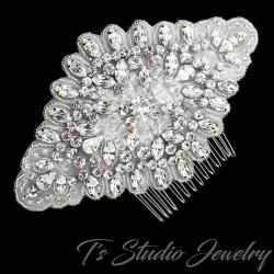 Rhinestone and Organza Bridal Hair Comb