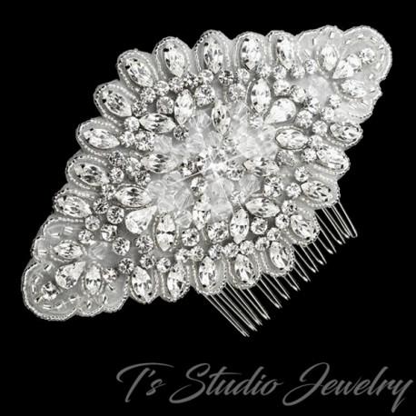 Rhinestone and Fabric Bridal Hair Comb