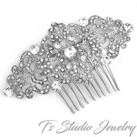 Vintage Style Crystal Rhinestone Silver Bridal Hair Comb Wedding Hair