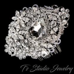 Antique Rhodium Silver Crystal Bridal Hair Comb