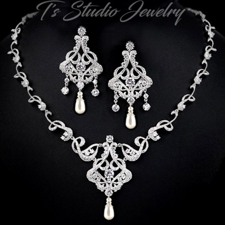 CZ Pave Pearl Bridal Jewelry Set
