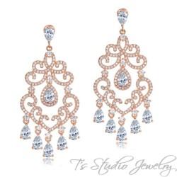 Delicate Rose Gold Chandelier Bridal Earrings