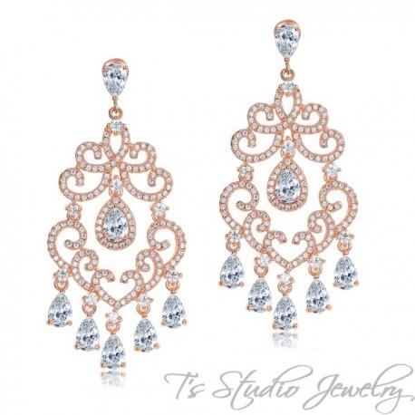 Delicate Crystal Chandelier Bridal Earrings - Silver or Rose Gold