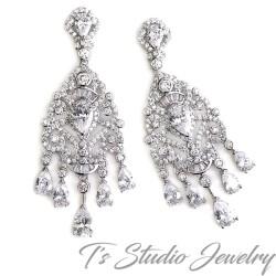 CZ Crystal Chandelier Wedding Earrings
