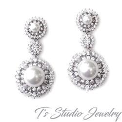 CZ & Pearl Drop Bridal Wedding Earrings
