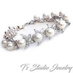 Cubic Zirconia Pearl Bridal Bracelet