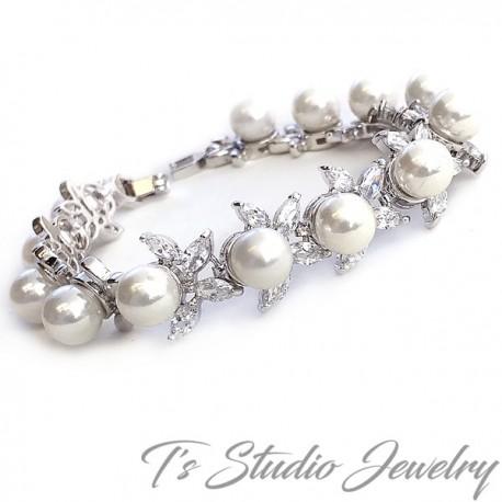 Marquise Leaf CZ Crystal Pearl Bridal Earrings