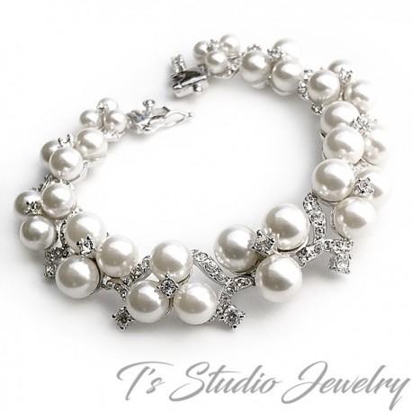 Pearl & Crystal Bridal Bracelet & Earrings Set
