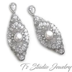 Vintage Style Cubic Zirconia Bridal Earrings