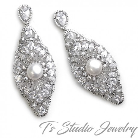 Great Gatsby Vintage Style Cubic Zirconia Bridal Earrings