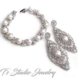 Great Gatsby Vintage Style Cubic Zirconia Bridal Earrings
