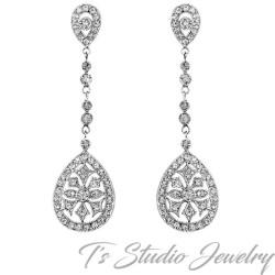 Long CZ Vintage Art Deco Style Bridal Earrings