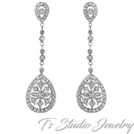 Great Gatsby Art Deco Vintage Style Crystal Chandelier Bridal Earrings