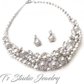 Statement Pearl Necklace & Earrings Bridal Set