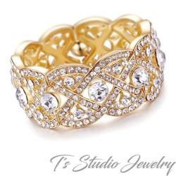 Gold Crystal Rhinestone Bridal Cuff Bracelet