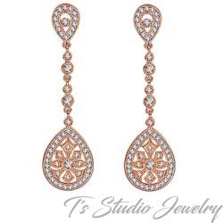 Rose Gold Vintage Style Bridal Earrings