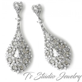Antique Silver Vintage Teardrop Bridal Chandelier Earrings