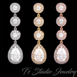 CZ Bridal Earrings Silver, Gold or Rose Gold