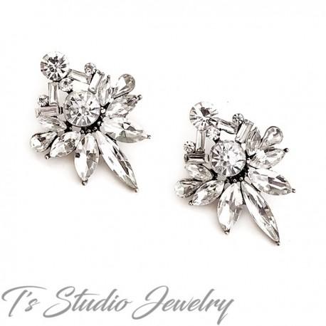 Romantic Vintage Crystal Stud Antique Silver Earrings