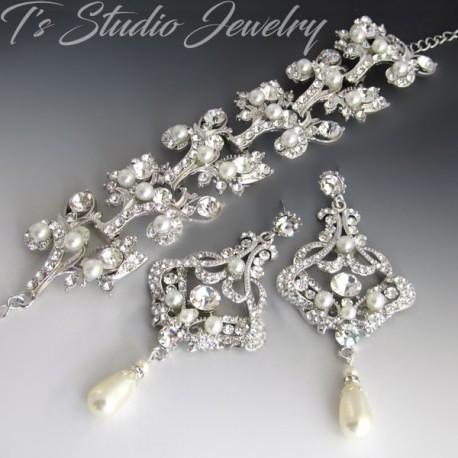 Cuff Bridal Bracelet and Pearl Chandelier Bridal Earrings Set