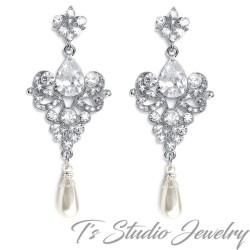 Vintage CZ and Pearl Bridal Chandelier Earrings