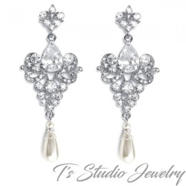 Vintage CZ and Pearl Bridal Chandelier Earrings