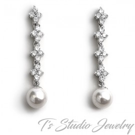 Cubic Zirconia and Pearl Bridal Earrings