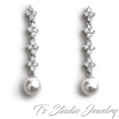 Cubic Zirconia and Pearl Bridal Earrings