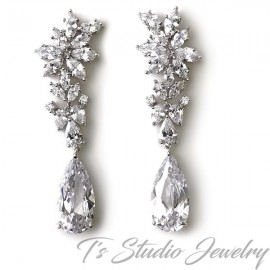 Marquise CZ Crystal Bridal Earrings
