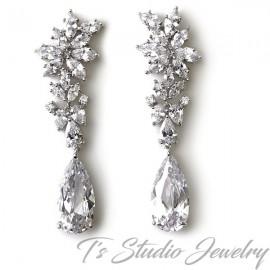 Marquise CZ Crystal Bridal Chandelier Earrings