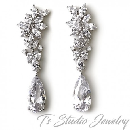 Marquise CZ Crystal Bridal Chandelier Earrings