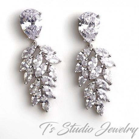 Marquise and Pear Shaped CZ Cubic Zirconia Bridal Chandelier Earrings