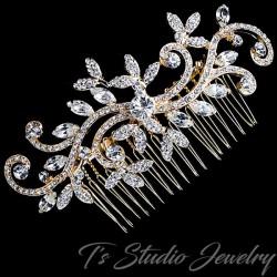 Gold Swirl Design Leaf Bridal Hair Comb