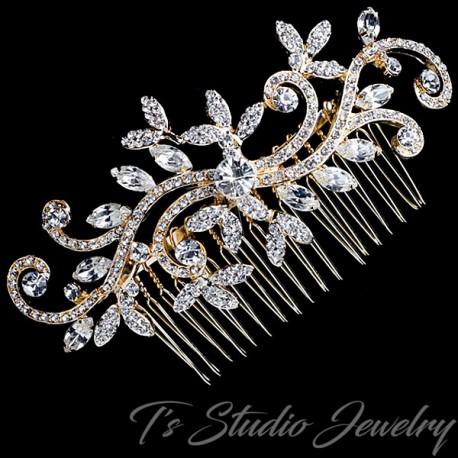 Swirl Design Leaf Bridal Hair Comb