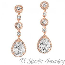 Gold Teardrop CZ Bridal Chandelier Earrings & Matching Necklace