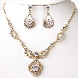 Gold Necklace & Earrings Bridal Jewelry Set
