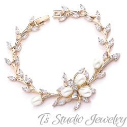 Gold Freshwater Pearl Bridal Wedding Bracelet