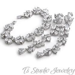 Long CZ Shoulder Duster Earrings & Bracelet Set