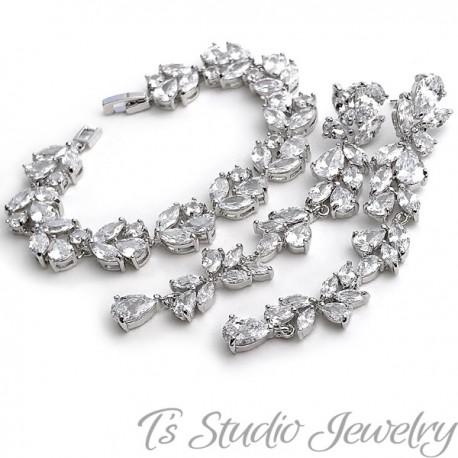 Long CZ Earrings - Cubic Zirconia Shoulder Duster Bridal Earings