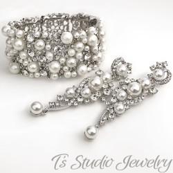 Pearl Bridal Cuff Bracelet & Earrings Set