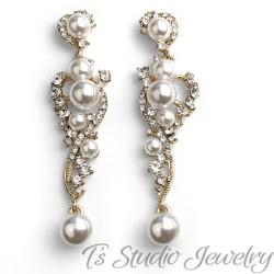 Long Gold Pearl & Crystal Wedding Earrings