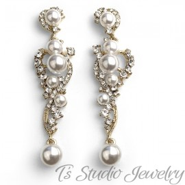 Long Pearl & Crystal Wedding Earrings
