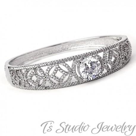 Silver Pave CZ Bridal Wedding Bracelet